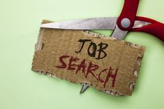 Text sign showing Job Search. Conceptual photo Find Career Vacancy Opportunity Employment Recruitment Recruit written on Tear Card. Text sign showing Job Search royalty free stock image