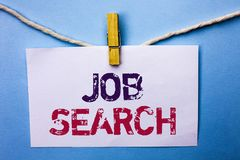 Text sign showing Job Search. Conceptual photo Find Career Vacancy Opportunity Employment Recruitment Recruit written on White Not. Text sign showing Job Search stock photo