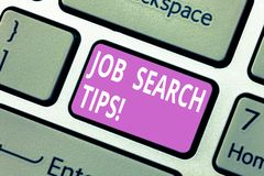 Text sign showing Job Search Tips. Conceptual photo Recommendations to make a good resume to obtain a position Keyboard. Key Intention to create computer royalty free stock images