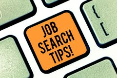 Text sign showing Job Search Tips. Conceptual photo Recommendations to make a good resume to obtain a position Keyboard. Key Intention to create computer stock photo