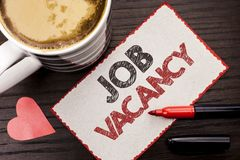 Text sign showing Job Vacancy. Conceptual photo Work Career Vacant Position Hiring Employment Recruit Job written on Sticky Note o. Text sign showing Job Vacancy stock photography