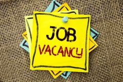Text sign showing Job Vacancy. Conceptual photo Work Career Vacant Position Hiring Employment Recruit Job written on Sticky Note P. Text sign showing Job Vacancy stock image