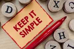 Text sign showing Keep It Simple. Conceptual photo Easy to toss around Understandable Generic terminology.  royalty free stock photography