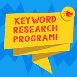 Text sign showing Keyword Research Program. Conceptual photo Fundamental practice in search engine optimization Folded 3D Ribbon. Sash Megaphone Speech Bubble vector illustration