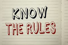 Text sign showing Know The Rules. Conceptual photo Be aware of the Laws Regulations Protocols Procedures written on Notebook Book. Text sign showing Know The royalty free stock image