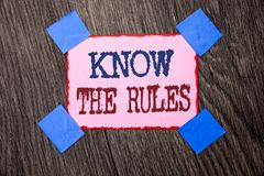 Text sign showing Know The Rules. Conceptual photo Be aware of the Laws Regulations Protocols Procedures written on Pink Sticky No. Text sign showing Know The stock photography