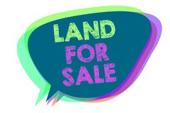 Text sign showing Land For Sale. Conceptual photo Real Estate Lot Selling Developers Realtors Investment Speech bubble stock illustration