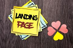 Text sign showing Landing Page. Conceptual photo Website accessed by clicking a link on another web page written on Stacked Sticky. Text sign showing Landing Royalty Free Stock Image