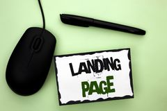 Text sign showing Landing Page. Conceptual photo Website accessed by clicking a link on another web page written on Sticky Note Pa. Text sign showing Landing Stock Photos