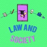 Text sign showing Law And Society. Conceptual photo Address the mutual relationship between law and society.  vector illustration