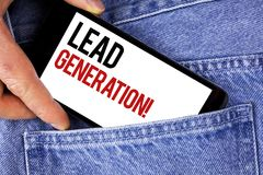 Text sign showing Lead Generation Motivational Call. Conceptual photo Sales pipeline digital generating leads written on Mobile ph. Text sign showing Lead Royalty Free Stock Photo