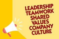 Text sign showing Leadership Teamwork Shared Values Company Culture. Conceptual photo Group Team Success Megaphone loudspeaker yel vector illustration