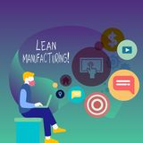 Text sign showing Lean Manufacturing. Conceptual photo focus on minimizing waste within analysisufacturing systems Man. Text sign showing Lean Manufacturing vector illustration