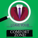 Text sign showing Leave Your Comfort Zone. Conceptual photo Make changes evolve grow take new opportunities Magnifying. Glass photo Enlarging Inspecting a royalty free illustration