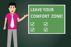 Text sign showing Leave Your Comfort Zone. Conceptual photo Make changes evolve grow take new opportunities Man with Tie Standing. Talking Presenting Blank vector illustration