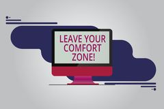 Text sign showing Leave Your Comfort Zone. Conceptual photo Make changes evolve grow take new opportunities Mounted Computer. Monitor Blank Reflected Screen on vector illustration
