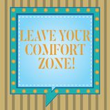 Text sign showing Leave Your Comfort Zone. Conceptual photo Make changes evolve grow take new opportunities Square Speech Bubbles. Inside Another with Broken vector illustration