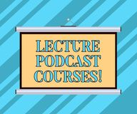 Text sign showing Lecture Podcast Courses. Conceptual photo the online distribution of recorded lecture material Blank. Portable Wall Hanged Projection Screen vector illustration