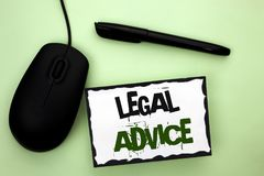 Text sign showing Legal Advice. Conceptual photo Recommendations given by lawyer or law consultant expert written on Sticky Note P. Text sign showing Legal stock photos