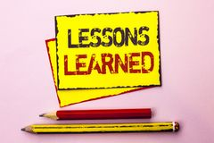 Text sign showing Lessons Learned. Conceptual photo Experiences that should be taken into account in the future written on Yellow. Text sign showing Lessons Stock Images