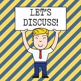 Text sign showing Let S Discuss. Conceptual photo asking someone to talk about something with demonstrating or showing. Text sign showing Let S Discuss stock illustration