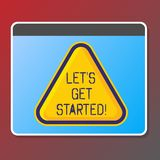 Text sign showing Let S Get Started. Conceptual photo beginning time motivational quote Inspiration encourage. Text sign showing Let S Get Started. Conceptual royalty free illustration