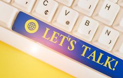 Free Text Sign Showing Let S Talk. Conceptual Photo They Are Suggesting Beginning Conversation On Specific Topic White Pc Royalty Free Stock Images - 160889869