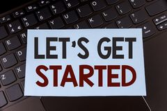 Text sign showing Lets Get Started. Conceptual photo beginning time motivational quote Inspiration encourage written on Sticky Not. Text sign showing Lets Get stock images
