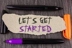 Text sign showing Lets Get Started. Conceptual photo beginning time motivational quote Inspiration encourage written on Tear Cardb. Text sign showing Lets Get stock photos