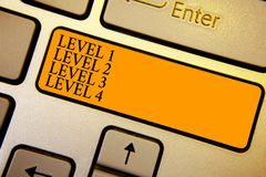 Text sign showing Level 1 Level 2 Level 3 Level 4. Conceptual photo Steps levels of a process work flow Keyboard orange key Intent. Ion create computer computing stock illustration