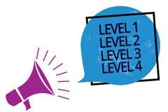 Text sign showing Level 1 Level 2 Level 3 Level 4. Conceptual photo Steps levels of a process work flow Megaphone loudspeaker spea. King loud screaming frame royalty free illustration