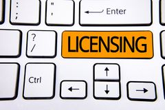 Text sign showing Licensing. Conceptual photo Grant a license Legally permit the use of something Allow activity written on Orange. Text sign showing Licensing royalty free stock photos