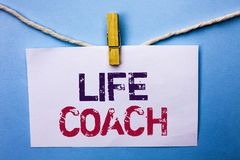 Text sign showing Life Coach. Conceptual photo Mentoring Guiding Career Guidance Encourage Trainer Mentor written on White Note Pa. Text sign showing Life Coach Royalty Free Stock Images