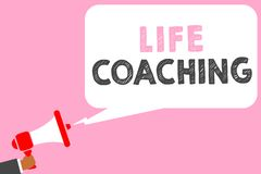 Text sign showing Life Coaching. Conceptual photo Improve Lives by Challenges Encourages us in our Careers Man holding megaphone l. Oudspeaker speech bubble Stock Illustration