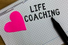 Text sign showing Life Coaching. Conceptual photo Improve Lives by Challenges Encourages us in our Careers Squared notebook paper. Ripped sheets Marker romantic Stock Photography