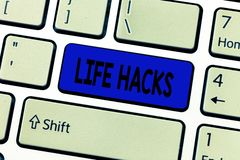 Text sign showing Life Hacks. Conceptual photo Strategy technique to analysisage daily activities more efficiently.  royalty free stock photo