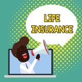 Text sign showing Life Insurance. Conceptual photo Payment of death benefit or injury Burial or medical claim Man. Text sign showing Life Insurance. Business royalty free illustration