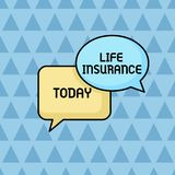 Text sign showing Life Insurance. Conceptual photo Payment of death benefit or injury Burial or medical claim Pair of. Text sign showing Life Insurance. Business royalty free illustration