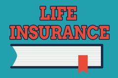 Text sign showing Life Insurance. Conceptual photo Payment of death benefit or injury Burial or medical claim Side View. Text sign showing Life Insurance royalty free illustration