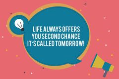 Text sign showing Life Always Offers You Second Chance It S Called Tomorrow. Conceptual photo More opportunities Blank. Round Speech Bubble with Bulb Idea Icon vector illustration