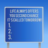 Text sign showing Life Always Offers You Second Chance It S Called Tomorrow. Conceptual photo More opportunities Blank. Square shape Billboard Standing with vector illustration