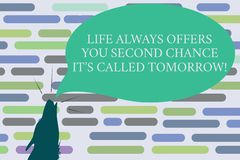 Text sign showing Life Always Offers You Second Chance It S Called Tomorrow. Conceptual photo More opportunities Contour shape of. Wolf Head Pointing upward vector illustration