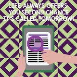 Text sign showing Life Always Offers You Second Chance It S Called Tomorrow. Conceptual photo More opportunities Female. Hand Hold Magnifying Glass Read Article royalty free illustration