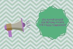 Text sign showing Life Always Offers You Second Chance It S Called Tomorrow. Conceptual photo More opportunities Megaphone with. Sound Volume Effect icon and stock illustration