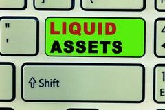 Text sign showing Liquid Assets. Conceptual photo Cash and Bank Balances Market Liquidity Deferred Stock.  stock images