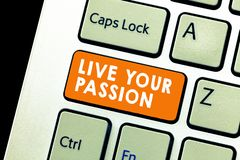 Text sign showing Live Your Passion. Conceptual photo Doing something you love that you do not consider a job.  royalty free stock images