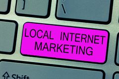 Text sign showing Local Internet Marketing. Conceptual photo use Search Engines for Reviews and Business List.  royalty free stock photography
