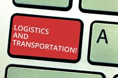 Text sign showing Logistics And Transportation. Conceptual photo delivering goods from suppliers to customers Keyboard stock photos