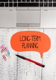 Text sign showing Long Term Planning. Conceptual photo Establish Expected Goals five or more years ahead Open laptop. Text sign showing Long Term Planning stock photo