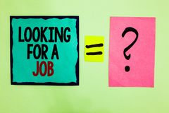Text sign showing Looking For A Job. Conceptual photo Unemployed seeking work Recruitment Human Resources Black lined written note. Middle queal pink page black royalty free stock images